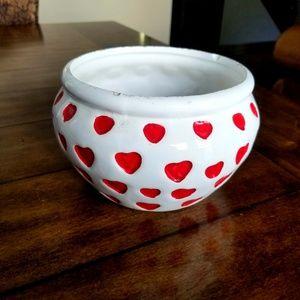 Other - 😎 Heart red and white flower pot #homedecor